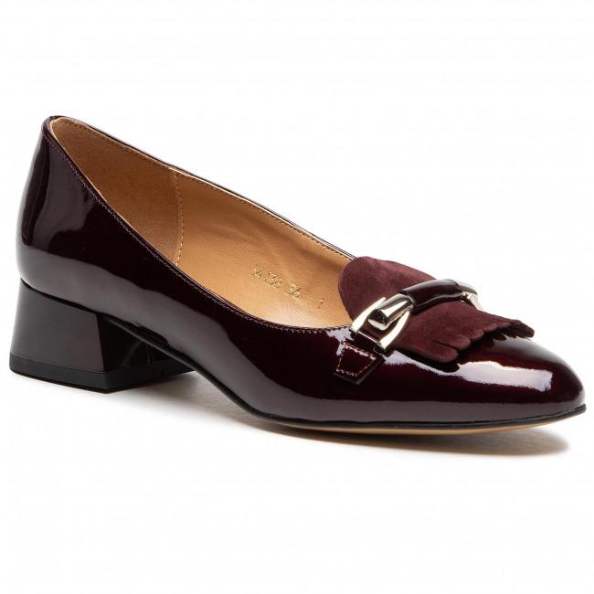 Shoes SAGAN - 4438 Bordowy Lakier/Metalik Srebro