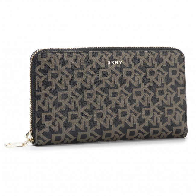 DKNY Bryant Wallet Wristlet Large Zip Around Leather Phone Case Black Gold New