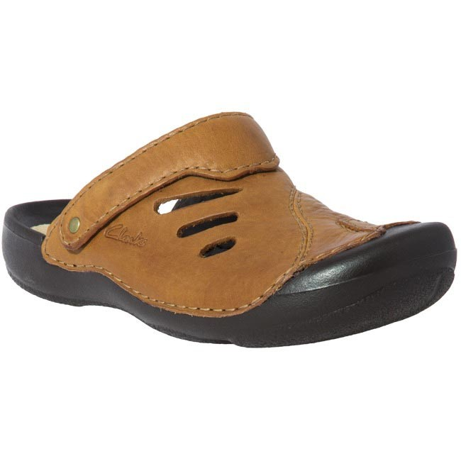 Slides CLARKS - 20339499 Wild Vibe Tan Leather Brown