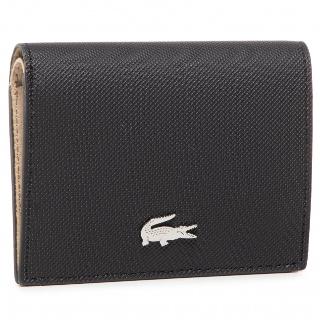 Small Women's Wallet LACOSTE - Double Purse With Coin NF3252AA  Noir Krema A91