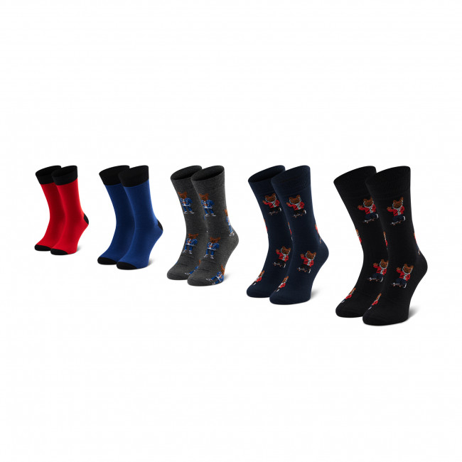 5 Pairs of Men's High Socks JACK&JONES - Jacorg Dog Sock 5 12185856 OS Dark Grey/Melange/Black