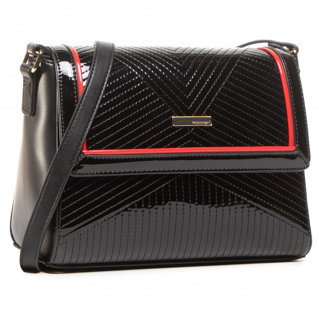 Handbag MONNARI - BAG7970-020 Black With Red