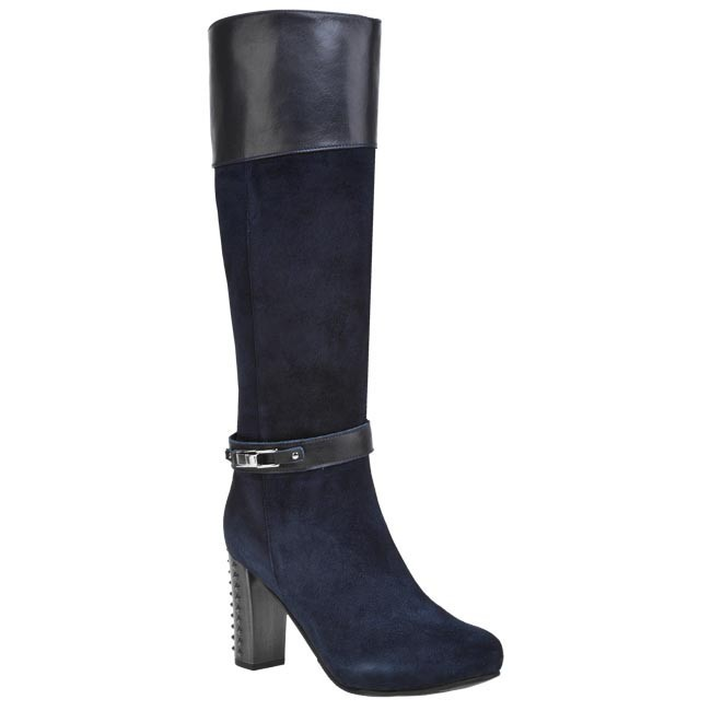 Knee High Boots SOLO FEMME - 95522-03-C33-C56-01-00 Blue Granatowy