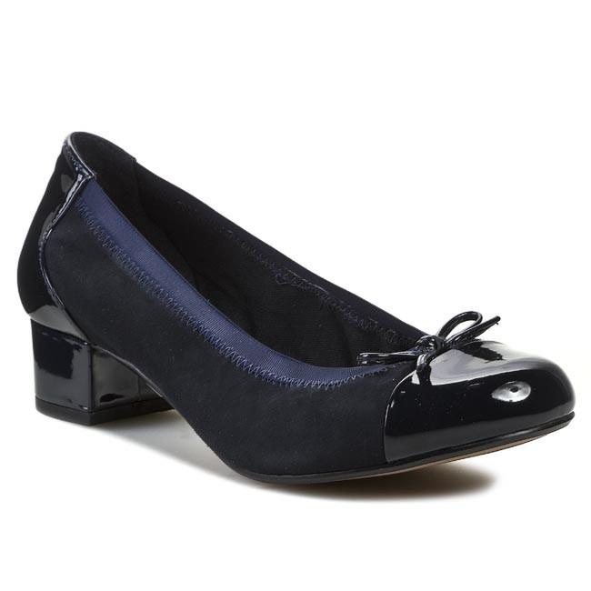 8ba24686f3663 Heels CLARKS - Balcony Poem 261009914 Navy Suede - Heels - Low shoes - Women's  shoes - efootwear.eu