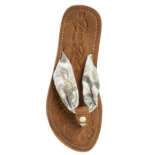 slides tom tailor 5491601 military silver flip flops. Black Bedroom Furniture Sets. Home Design Ideas