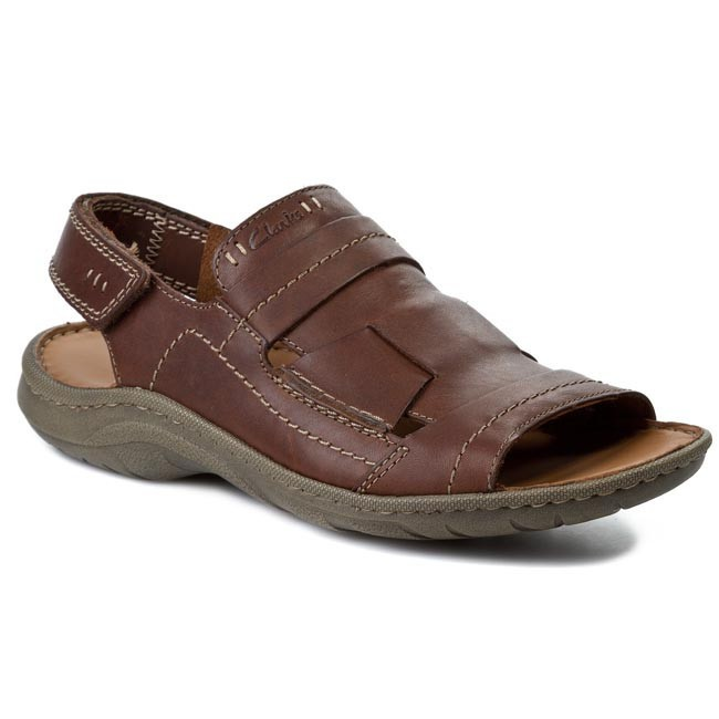 Sandals Clarks Woodlake Open 203581417 Brown Leather