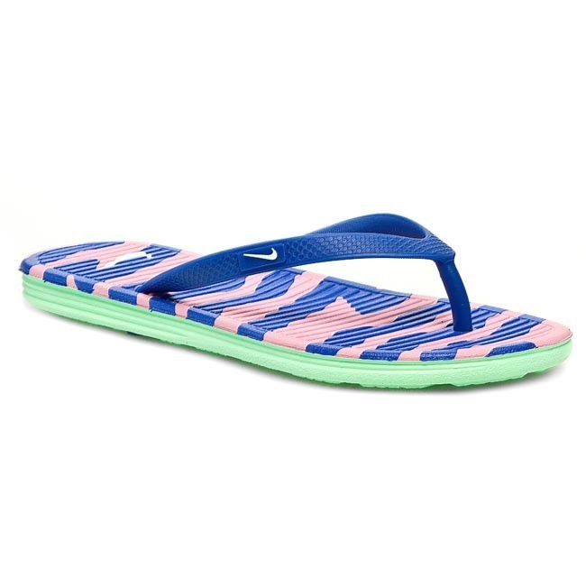 Slides NIKE - WMNS Solarsoft Thong II Print 553486 403 Game Royal/White/Pink Glow/Lcd Green