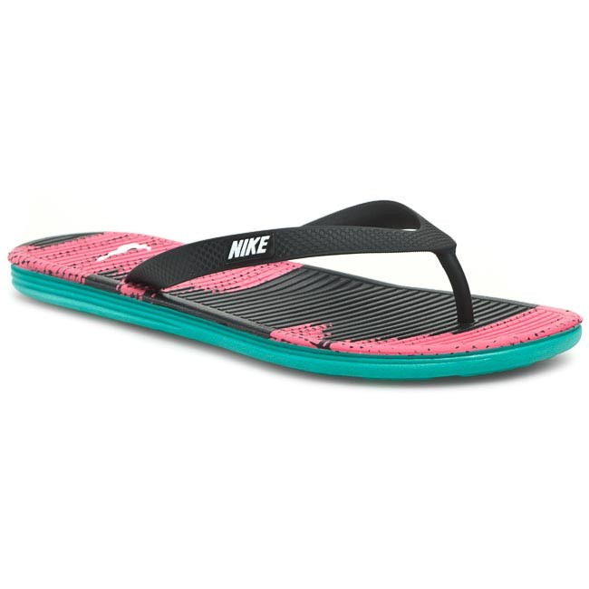 Slides NIKE - Solarsoft Thong II Print 511365 016 Black/White/Pink Flash/Trb Green
