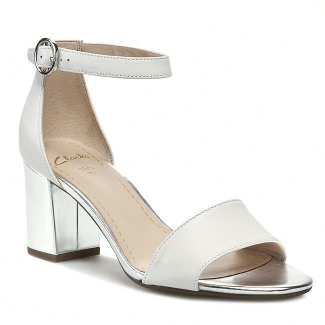Sandals CLARKS - Susie Deva 203577625 White/Silver