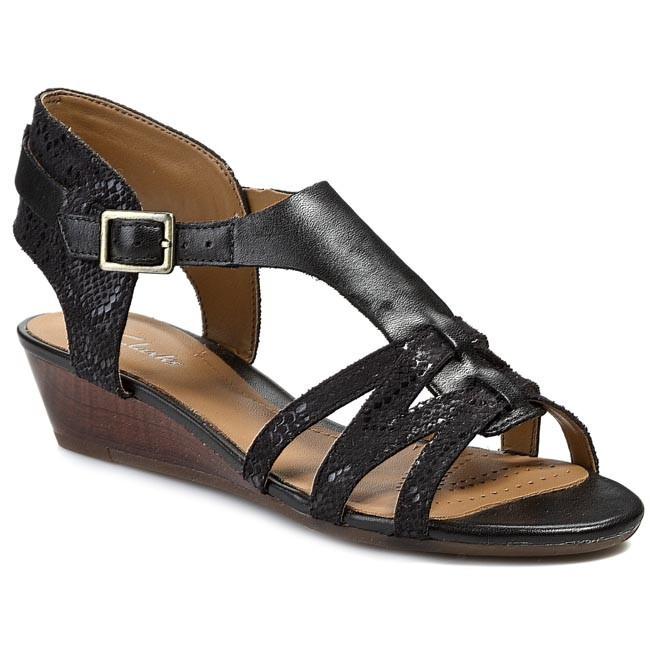 Sandals CLARKS - Playful Club 203580474 Black Combi Leather