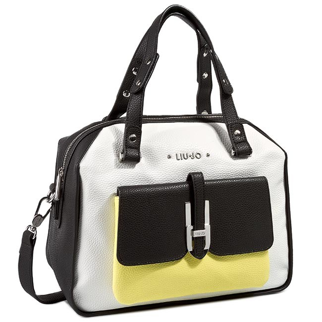 san francisco d2392 270dc Handbag LIU JO - Bauletto L Oro A15020 E0086 White/Nero/Yellow Z9079