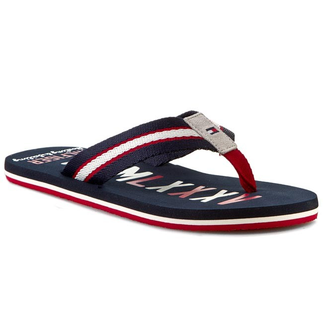 Slides TOMMY HILFIGER - Barney 6D FM56818895 Midnight/Tango Red/ White 403