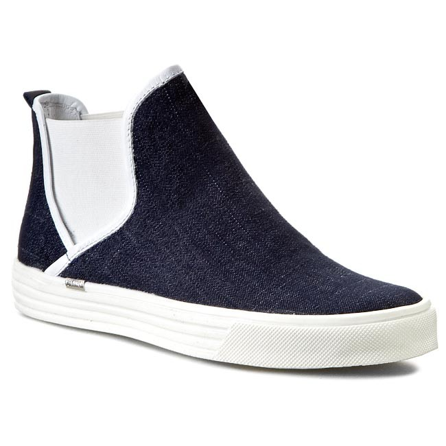 Shoes CARINII - B3009 Jeans/Nappa Biała
