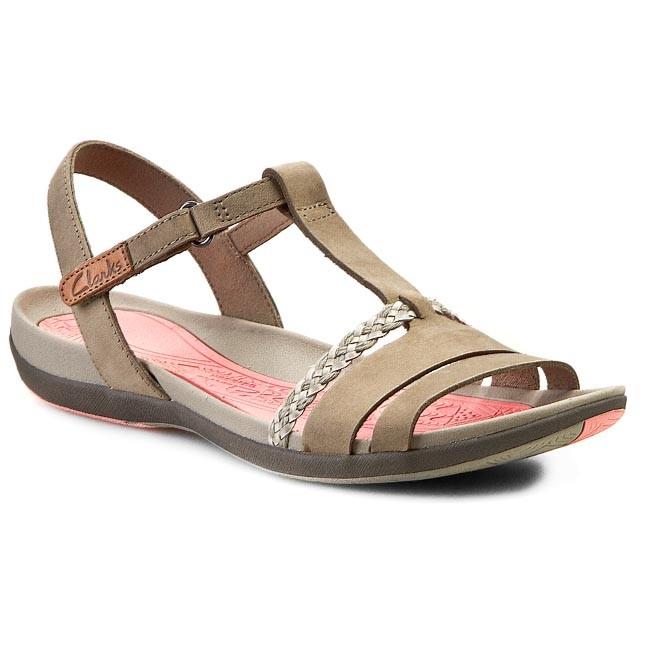 Sandals CLARKS - Tealite Grace 261068494 Stone Nubuck