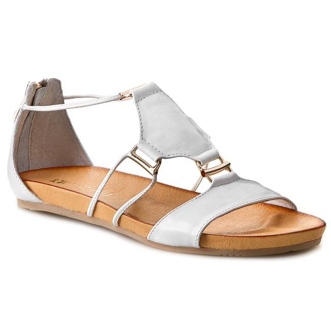 Sandals CARINII - B2835 Nappa Biała