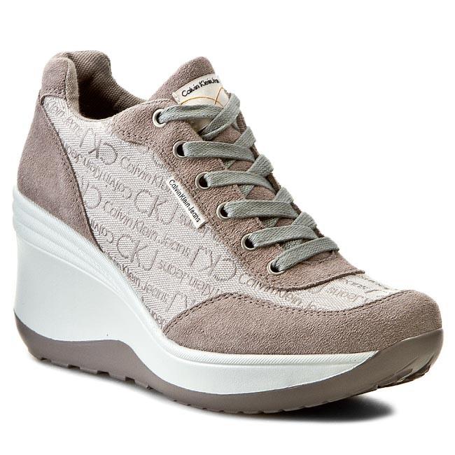 Shoes CALVIN KLEIN JEANS - Joy Ckj Jacquard Logo/Suede R1495  Ivory