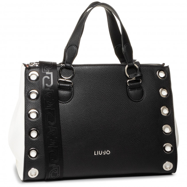 Handbag LIU JO - M Double Zip Satchel AA0064 E0005 Black/White 09379
