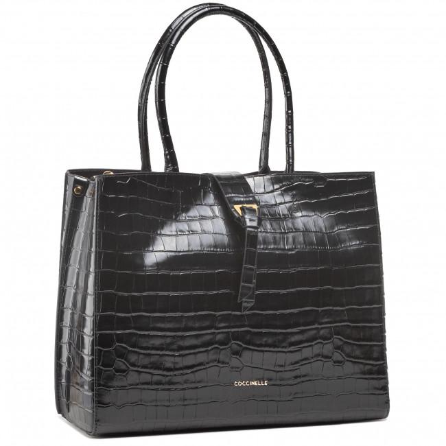 Handbag COCCINELLE - H57 Alba Croco Shiny Soft E1 H57 11 01 01  Noir 001