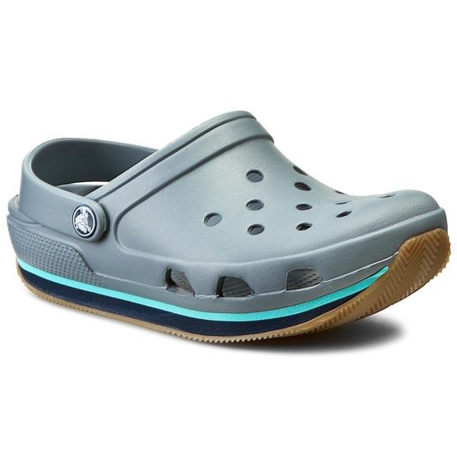 71bf65490b3df Slides CROCS - Crocs Retro Clog 14001 Concrete/Navy - Clogs and ...