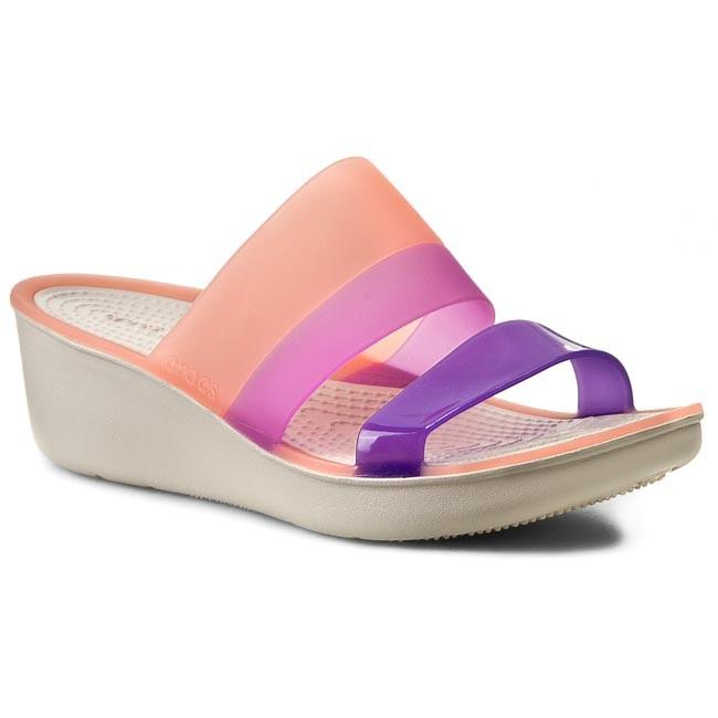 e2d436eb20dec7 Slides CROCS - Colorblock Wedge W 200031 Melon/Stucco - Wedges - Mules and  sandals - Women's shoes - efootwear.eu