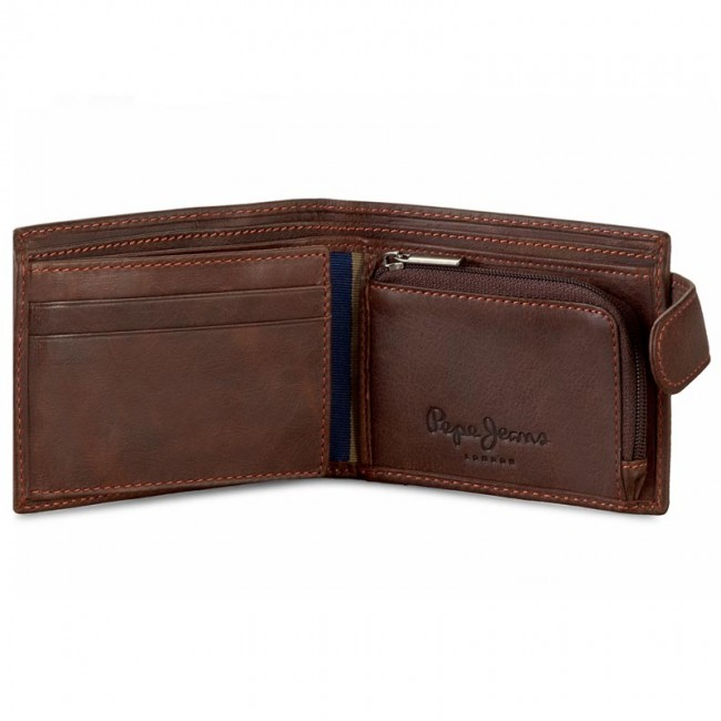 Small leather wallet Pepe Jeans brown.