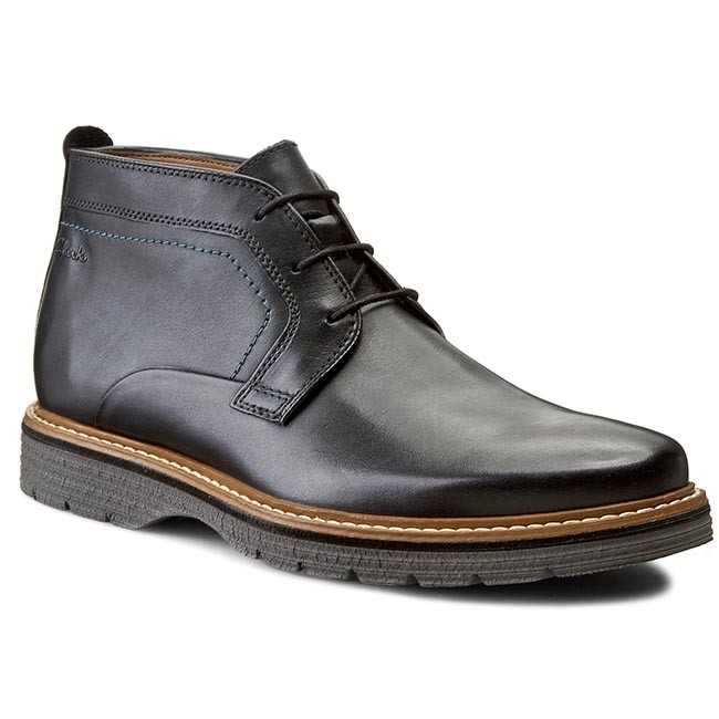 Boots CLARKS Newkirk Top 261122097 Black Leather