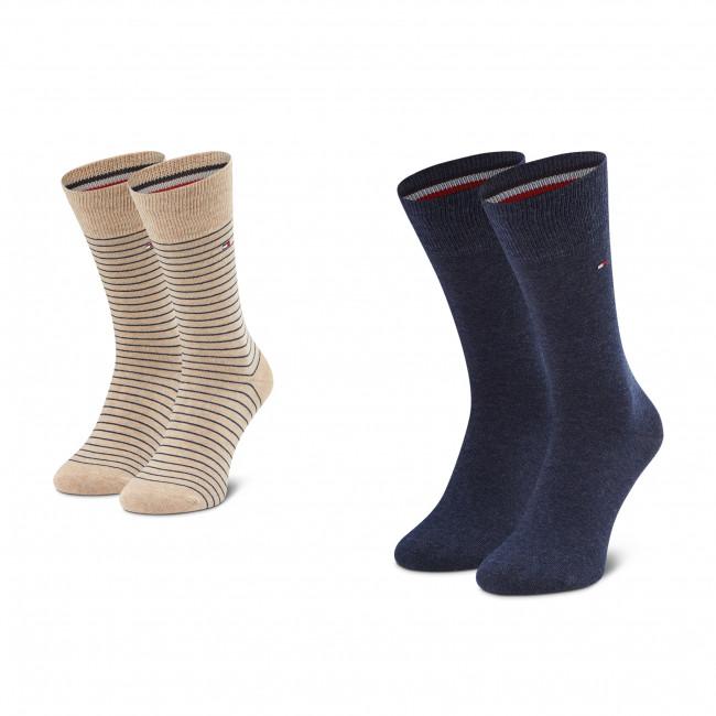2 Pairs of Men's High Socks TOMMY HILFIGER - 100001496 Beige Melange 050