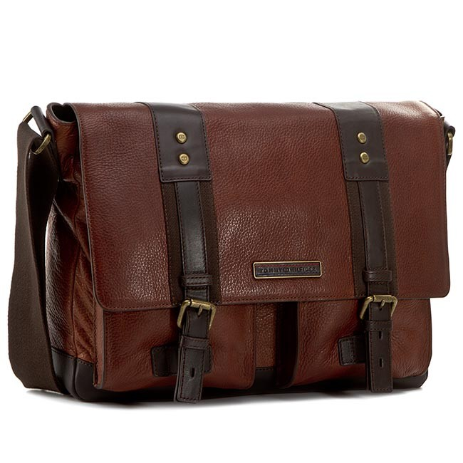 Laptop Bag TOMMY HILFIGER - Tiago Messenger W/Flap AM0AM00523 Cognac/Coffee Bean 904
