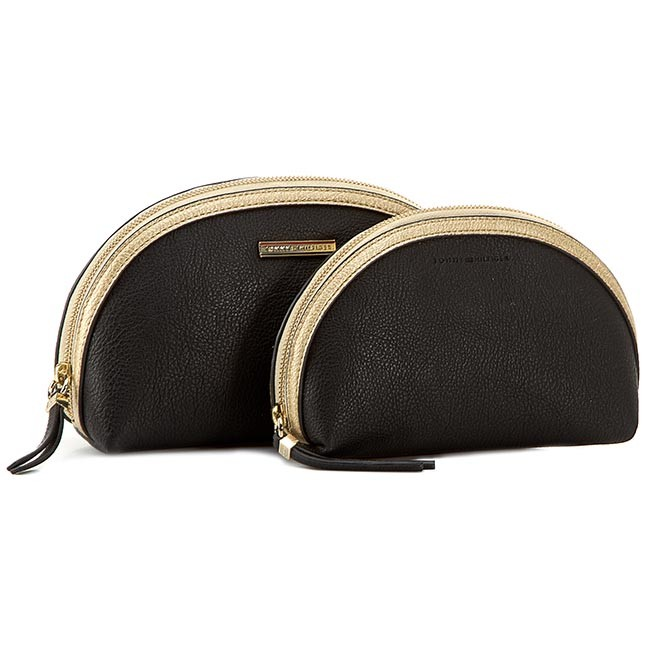 Beauty Case Set TOMMY HILFIGER - Rachel Cosmetic Case 2 In 1 M AW0AW01552 Black/Gold 902