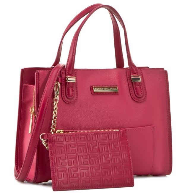 Handbag TOMMY HILFIGER - Amelie Small Tote AW0AW01384 Baroque Rose/Deep Claret 906
