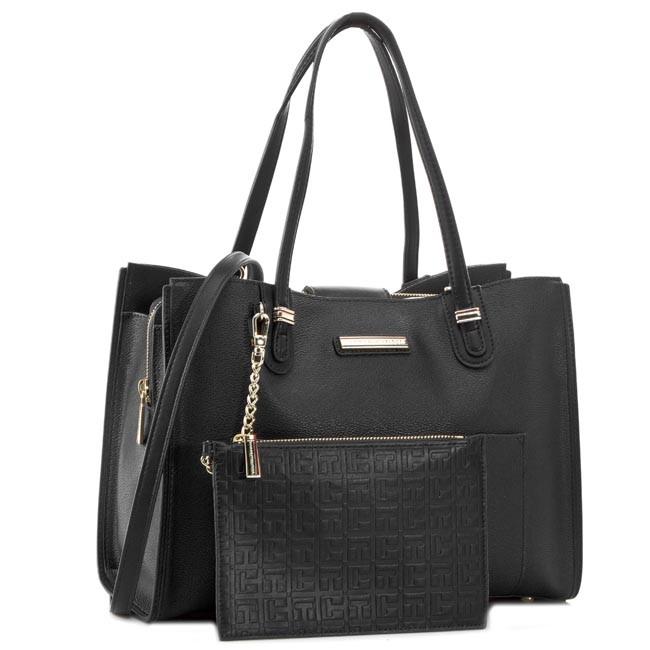 Handbag TOMMY HILFIGER - Amelie Medium Tote AW0AW01400 Black 002