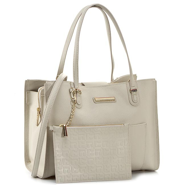 Handbag TOMMY HILFIGER - Amelie Medium Tote AW0AW01400 Pumice Stone/Simple Taupe 909