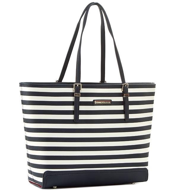 Handbag TOMMY HILFIGER - Honey Ew Tote Stripe AW0AW01407 Midnight/Whisper White Stripe 909