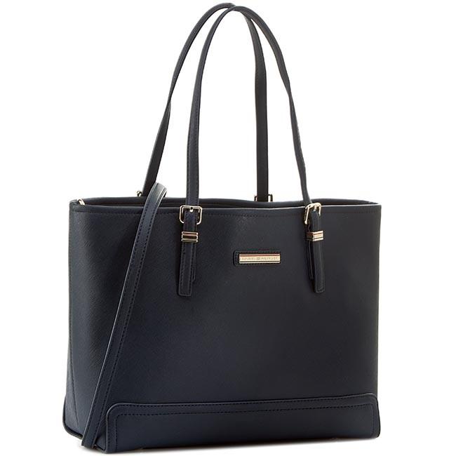 Handbag TOMMY HILFIGER - Honey Medium Tote Solid AW0AW01807 Midnight 001