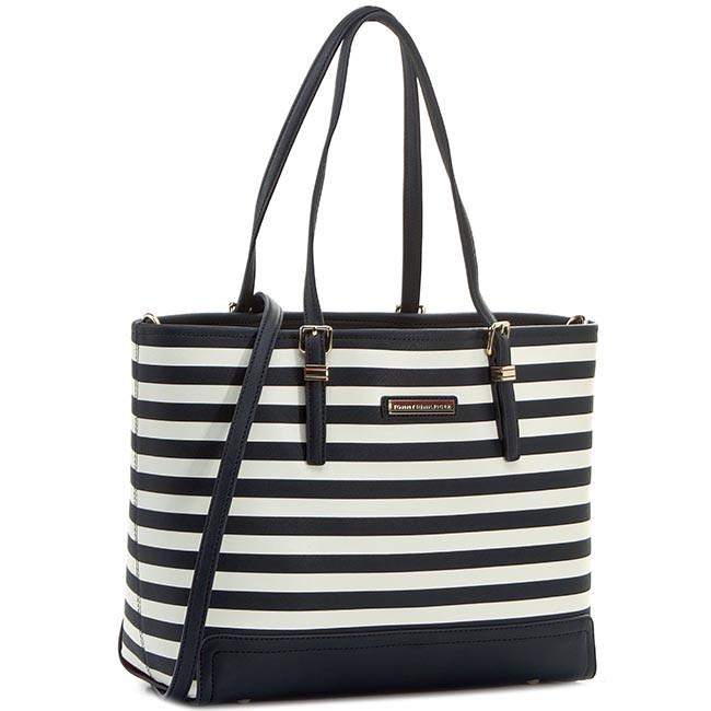 Handbag TOMMY HILFIGER - Honey Medium Tote Stripe AW0AW01831 Midnight/Whisper White Stripe 909
