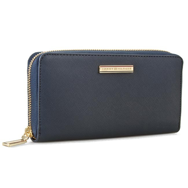 Large Women's Wallet TOMMY HILFIGER - Honey Large Z/A Wallet AW0AW01865 Midnight 001