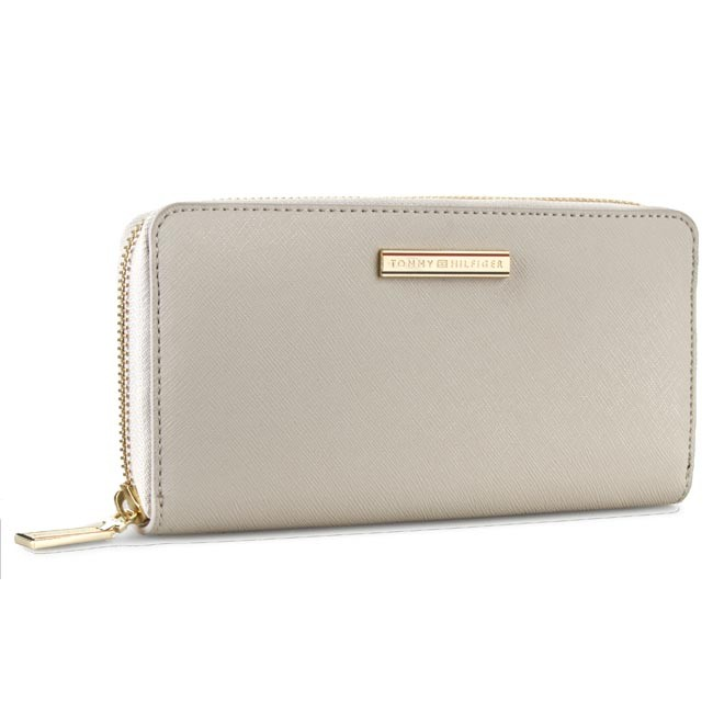 Large Women's Wallet TOMMY HILFIGER - Honey Large Z/A Wallet AW0AW01865 Pumice Stone 013