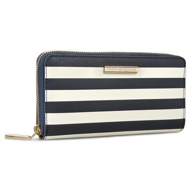 Large Women's Wallet TOMMY HILFIGER - Honey Large Z/A Wallet Stripe AW0AW01866 Midnight/Whisper White Stripe 909
