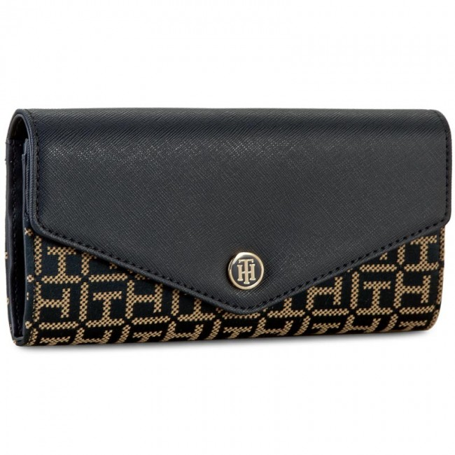 Large Women's Wallet TOMMY HILFIGER - Th Essential Large Ew Wallet Jacquard AW0AW03021 902