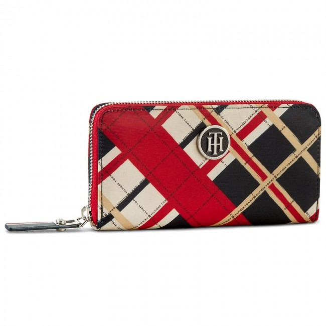 Large Women's Wallet TOMMY HILFIGER - Poppy Large Z/A Wallet Check AW0AW03242 901