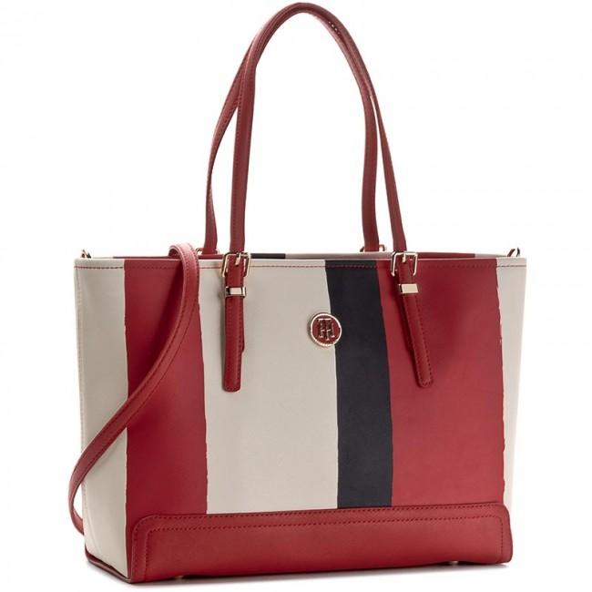 Handbag TOMMY HILFIGER Honey Medium Vertical Tote Stripe AW0AW03750 906