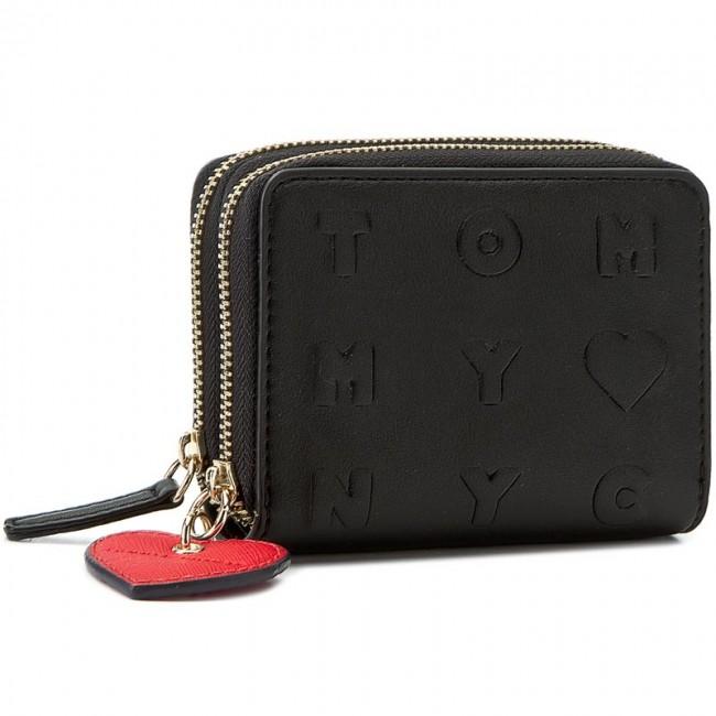 TOMMY HILFIGER Corp Leather Mini Zip Around Geldbörse Tommy Navy Blau