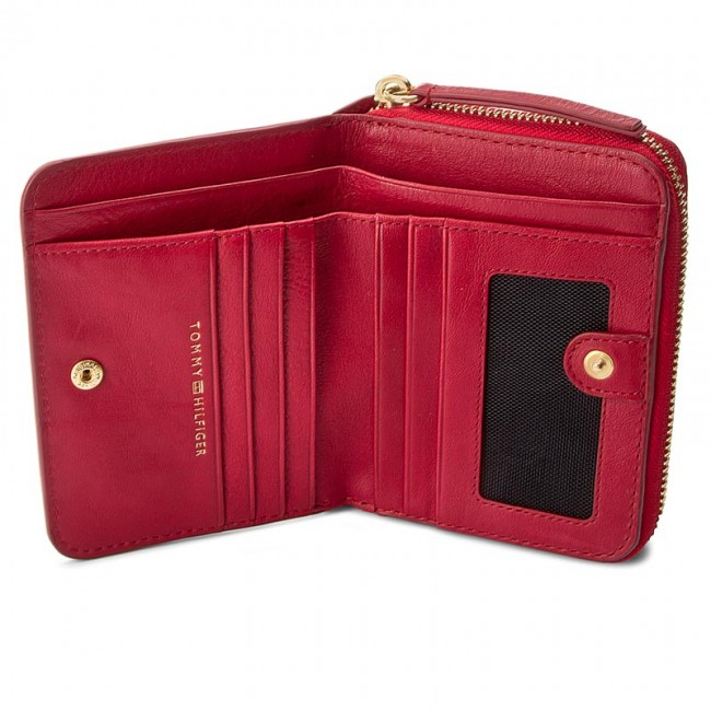 ec019b578 Large Women's Wallet TOMMY HILFIGER - Soft Leather Compact Zip W/Flat  AW0AW04118 614