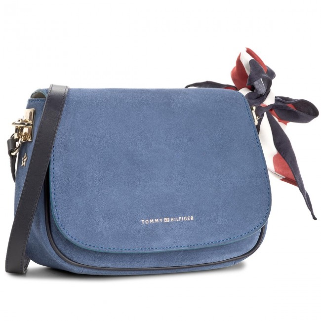 Handbag TOMMY HILFIGER - Iconic Foulard Leather Saddle Bag Suede AW0AW04961 484