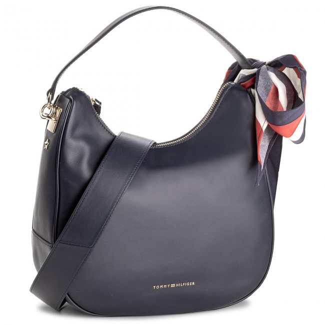 Handbag TOMMY HILFIGER - Iconic Foulard Leather Sm Hobo AW0AW04962 413