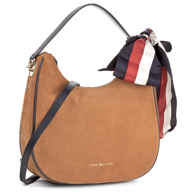 Handbag TOMMY HILFIGER - Iconic Foulard Leather Sm Hobo Suede AW0AW04984 295