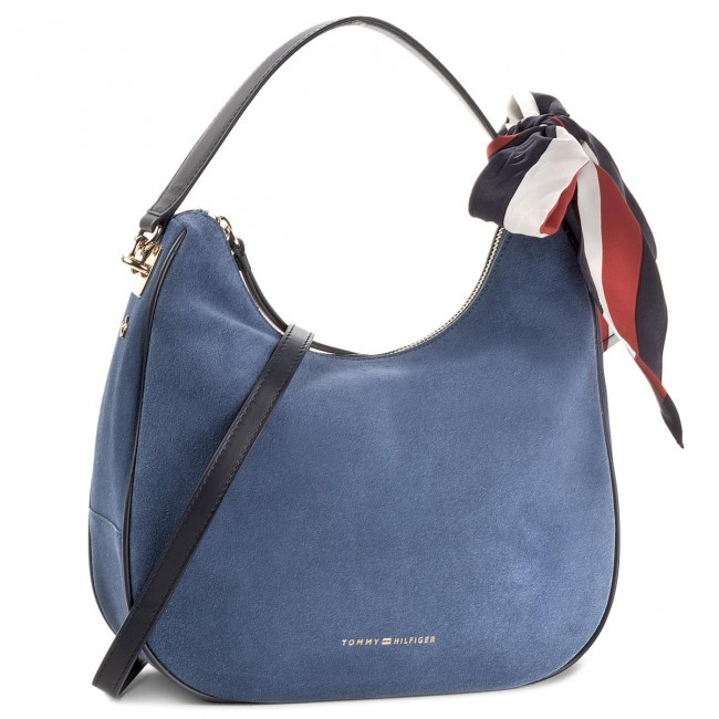 Handbag TOMMY HILFIGER - Iconic Foulard Leather Sm Hobo Suede AW0AW04984 484