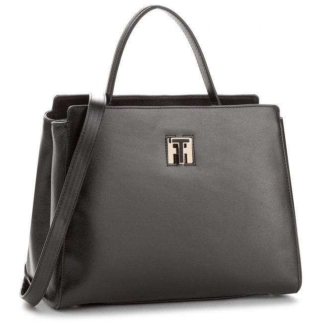 Handbag TOMMY HILFIGER - Th Twist Leather Med Tote AW0AW05261 002