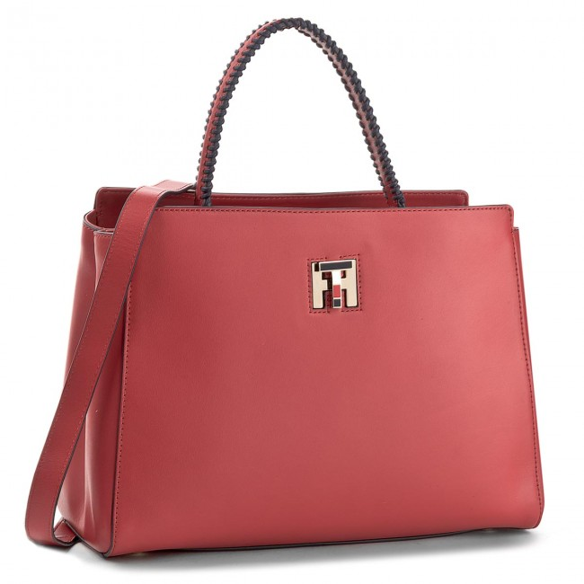 Handbag TOMMY HILFIGER - Th Twist Leather Med Tote Lacing AW0AW05263 601