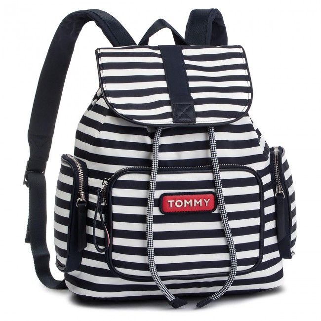 5677edae Backpack TOMMY HILFIGER - Varsity Nylon Stripe Backpack AW0AW06239 902